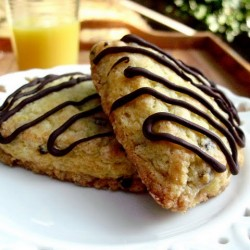 Orange Currant Scones with Melted Chocolate