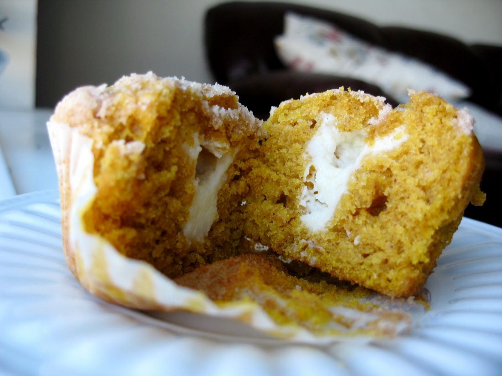 Pumpkin Muffins with Cream Cheese Centers - Your Cup of Cake