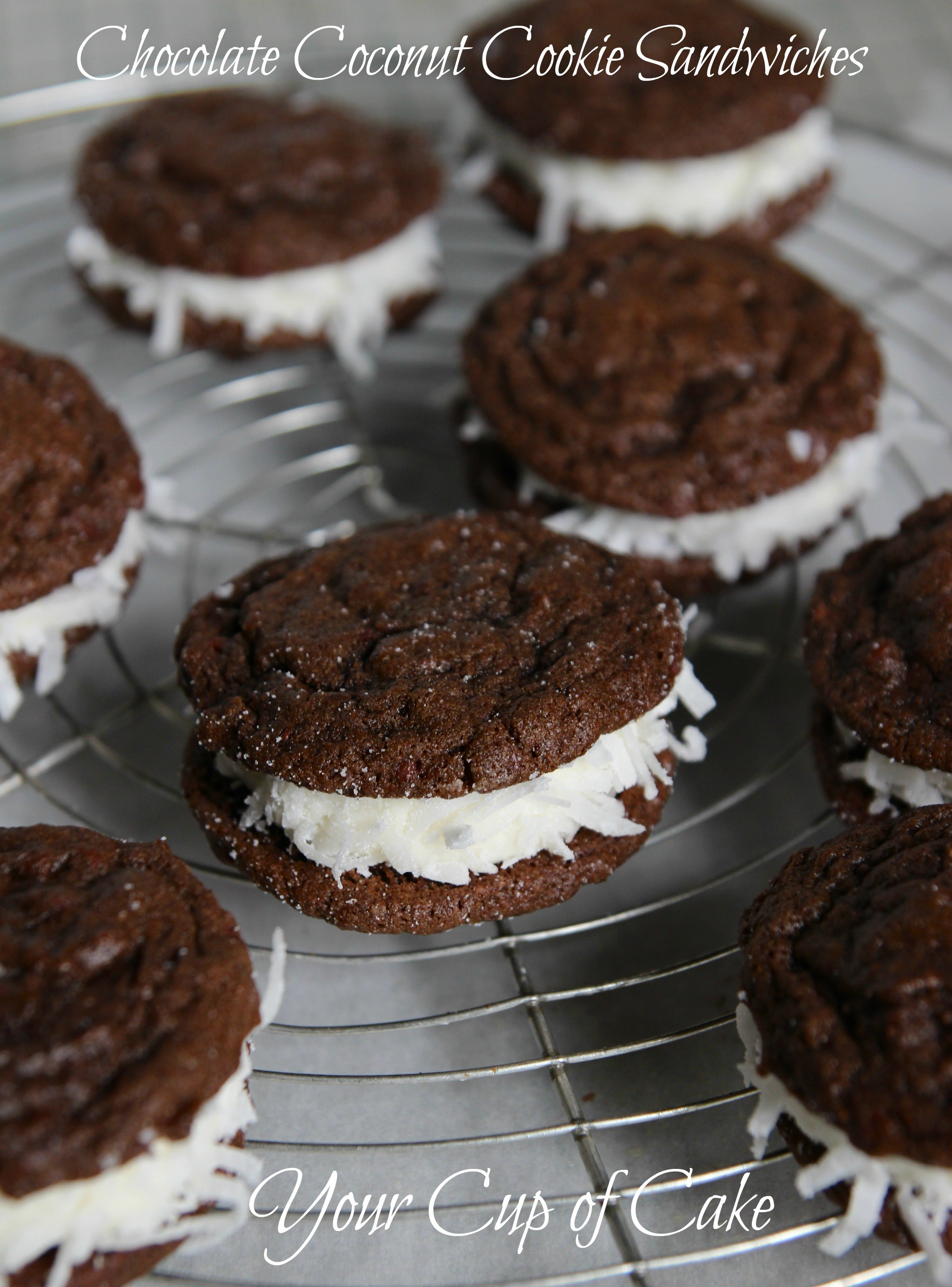Chocolate Coconut Cookie Sandwiches Your Cup Of Cake