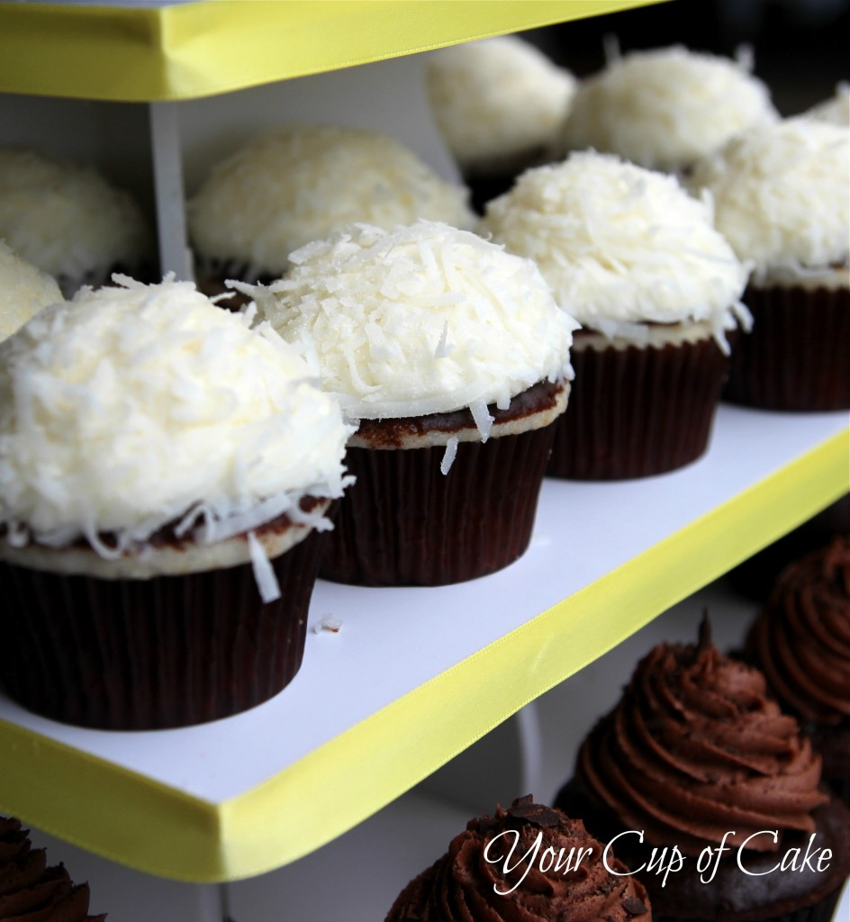 Coconut Cupcakes with Chocolate Ganache - Your Cup of Cake