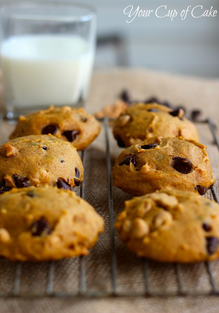 Pumpkin Chocolate and Peanut Butter Chip Cookies