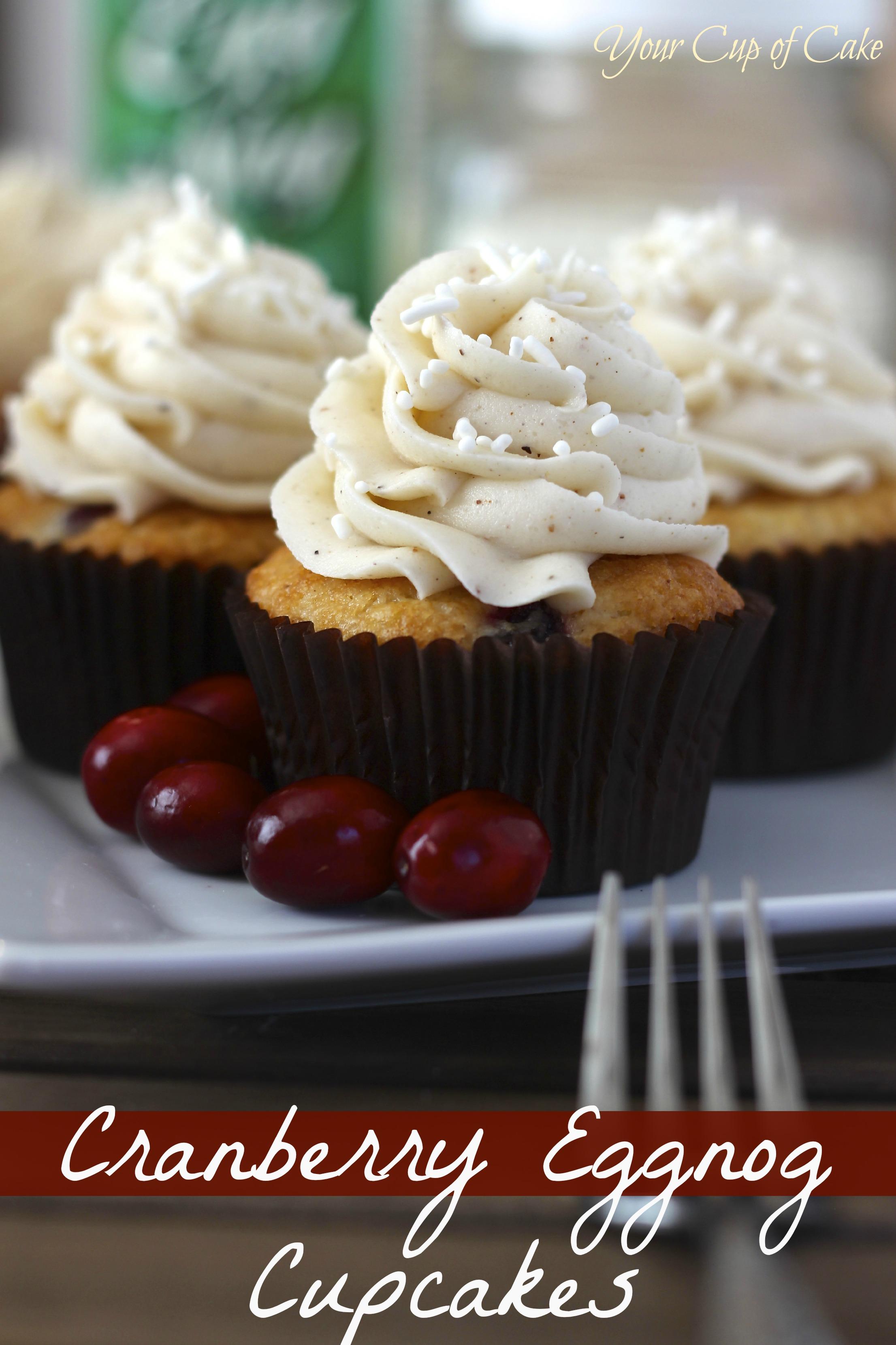 Cranberry Eggnog Cupcakes