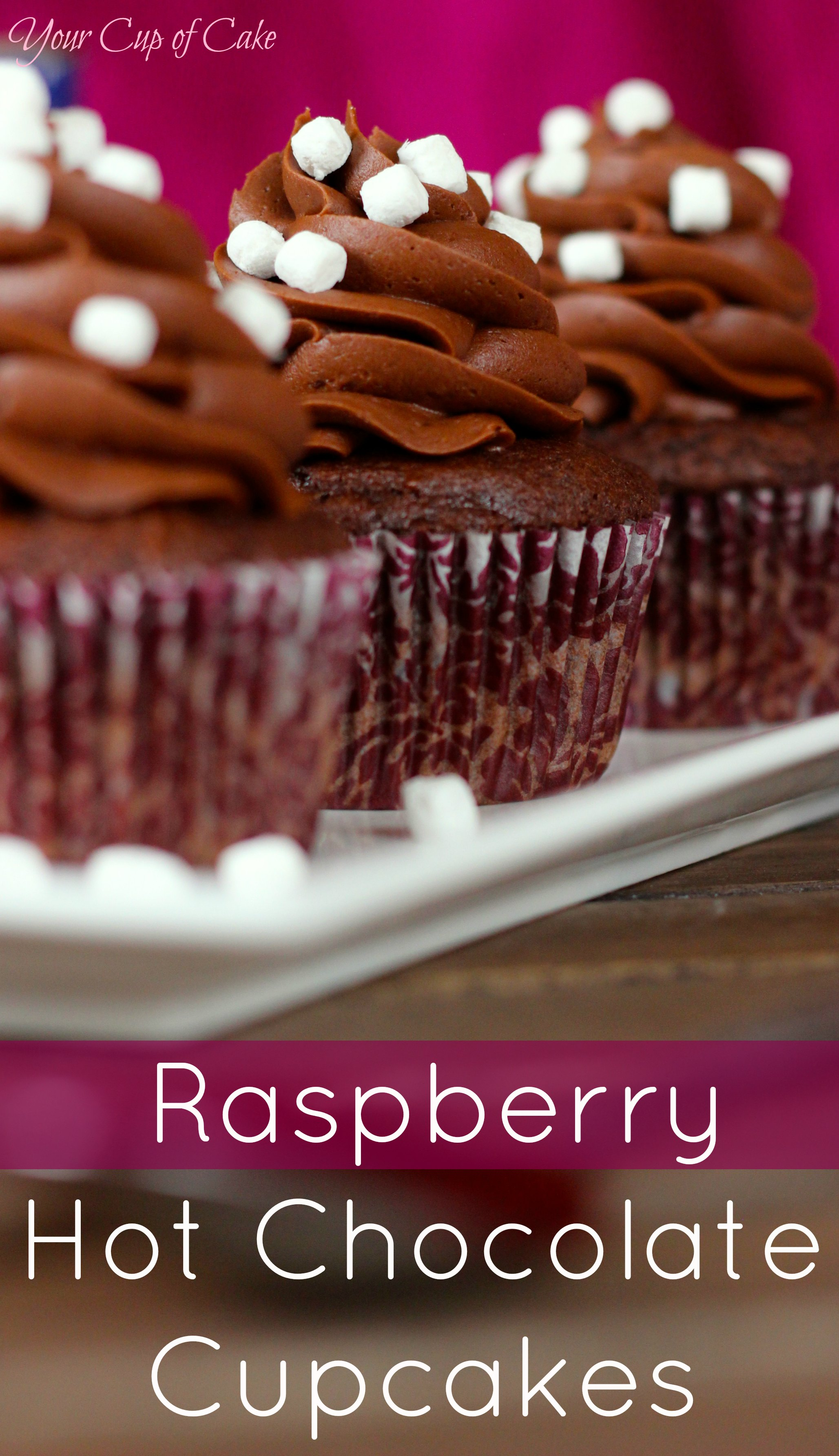 Raspberry Hot Chocolate Cupcakes