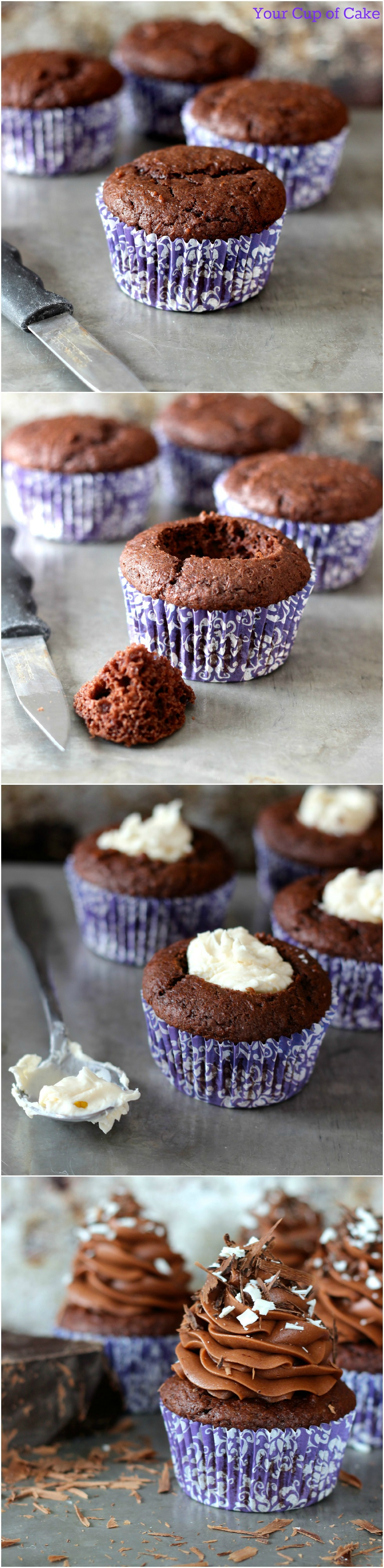 Cupcakes will filled with sweet mascarpone