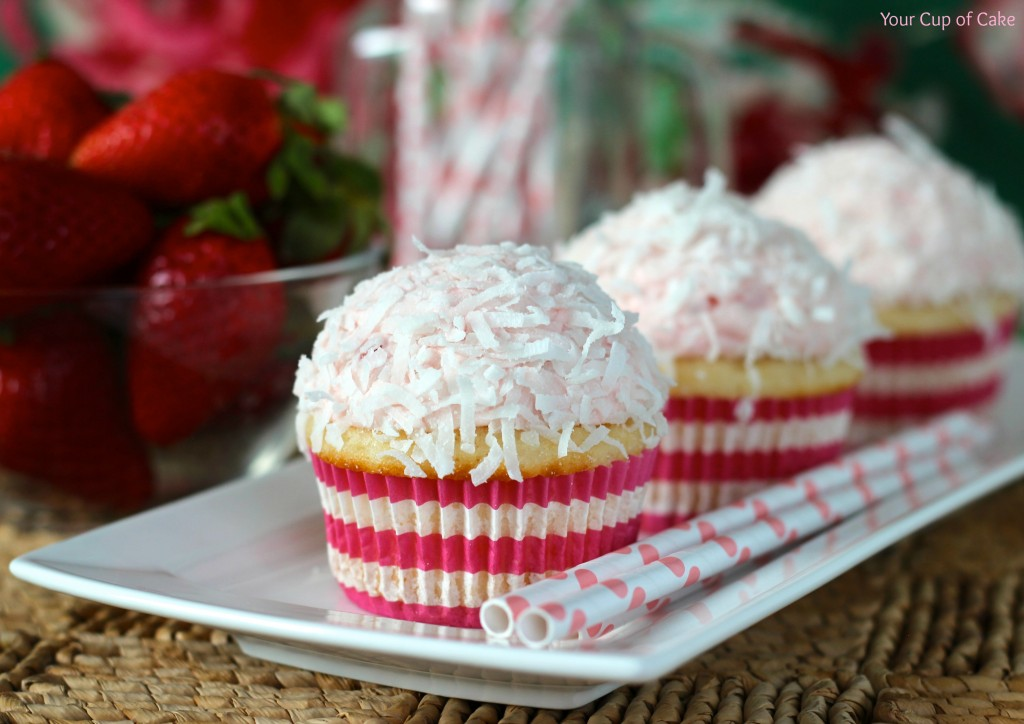 Strawberry Colada Cupcake