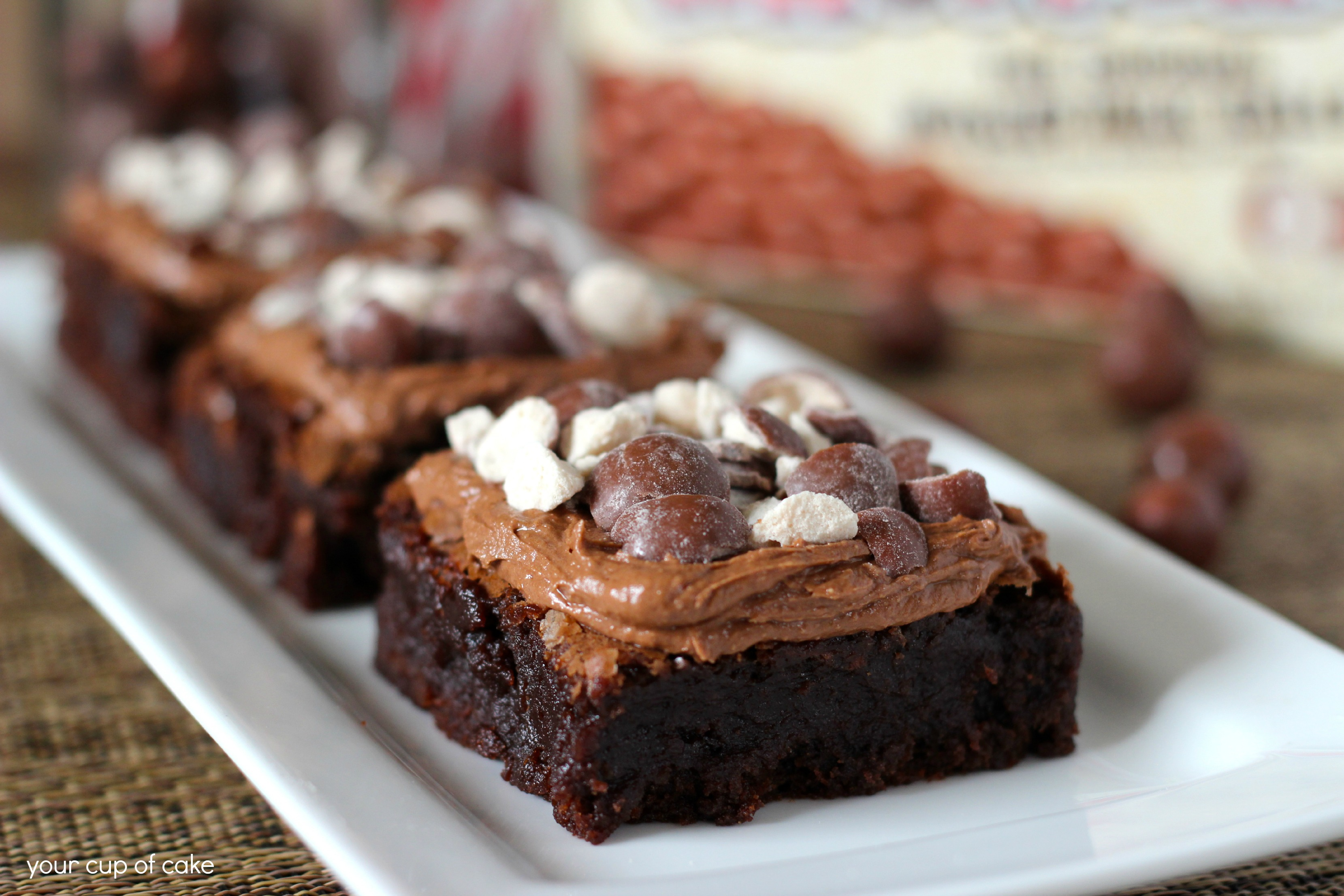 Chocolate Malt Brownies - Your Cup of Cake