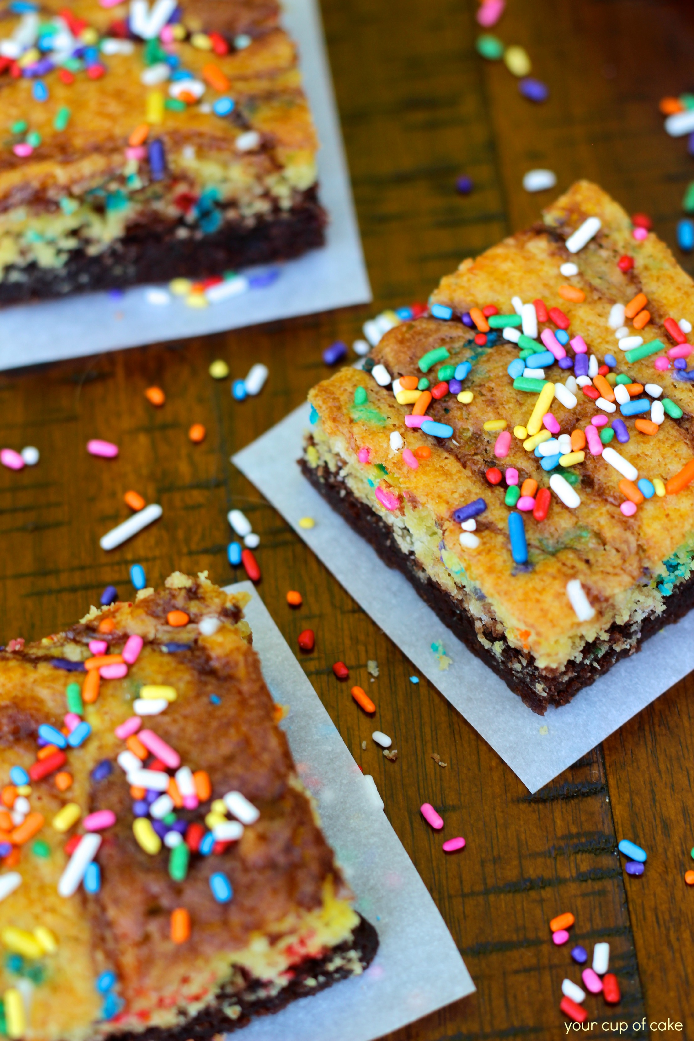 Cake Batter Brownies Your Cup Of Cake