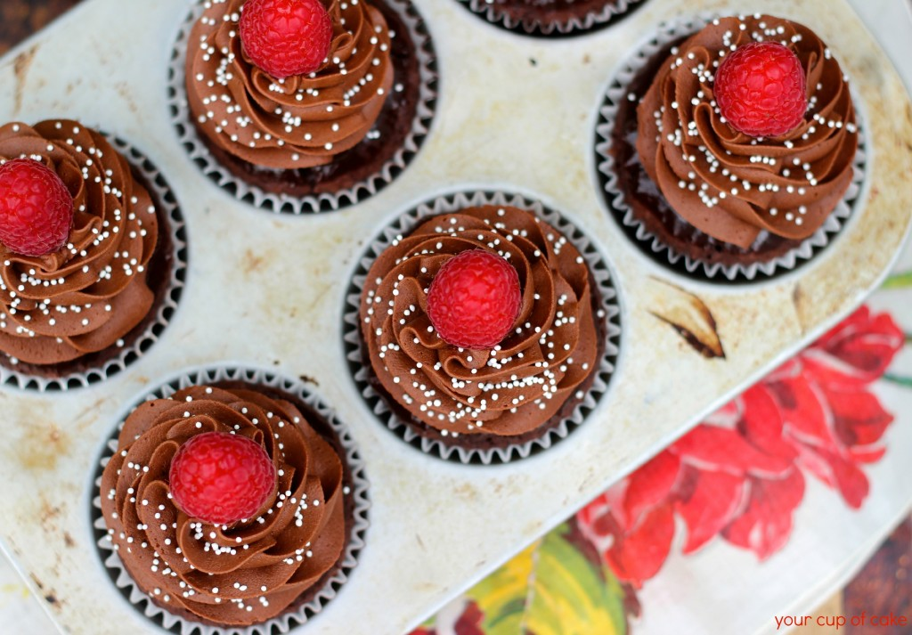 Chocolate Almond Raspberry Cupcake
