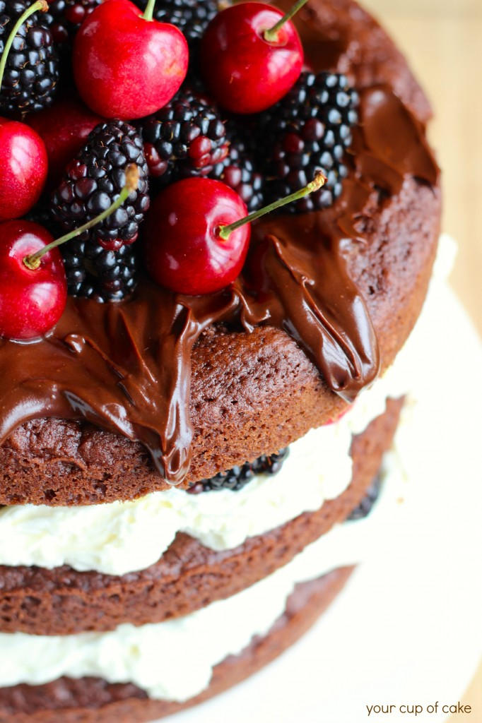 Cherry and Blackberry Whipped Cream Cake