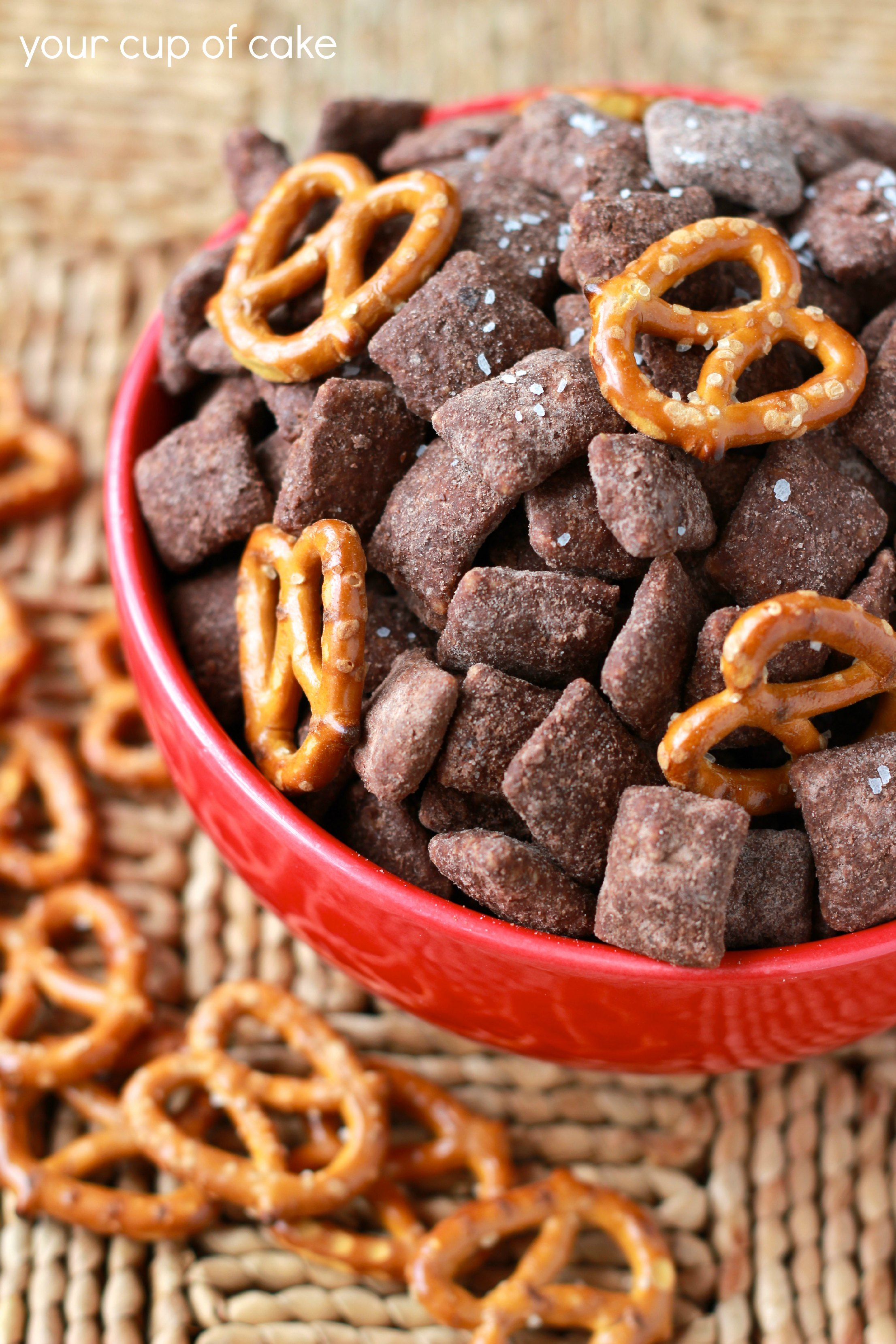 Salted Chocolate Puppy Chow with Pretzels