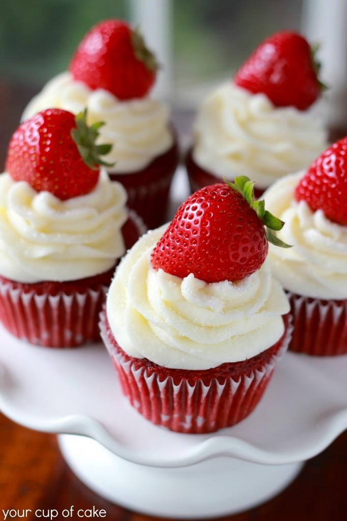 Strawberry Red Velvet Cupcake