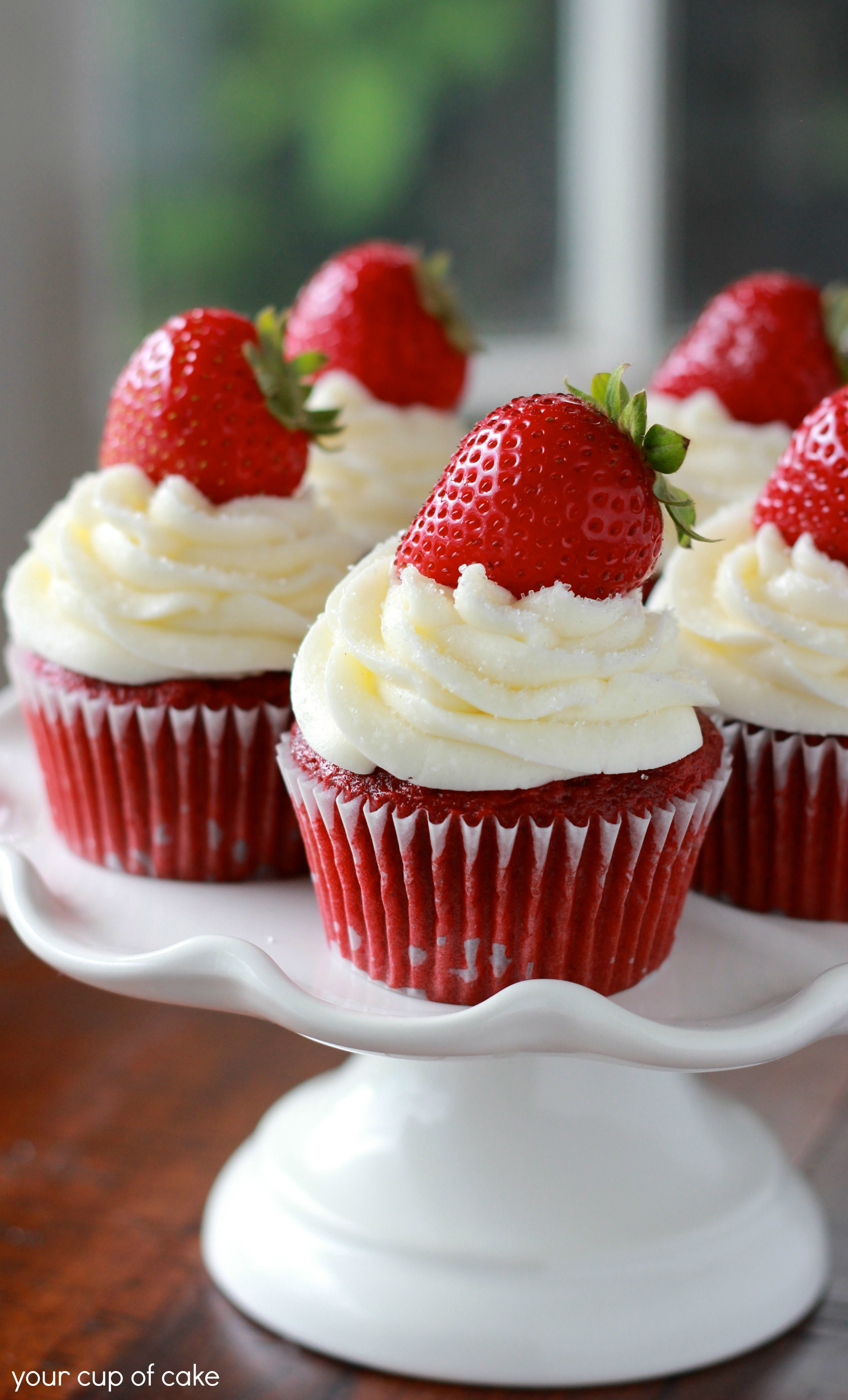 Strawberry Red Velvet Cupcakes - Your Cup of Cake