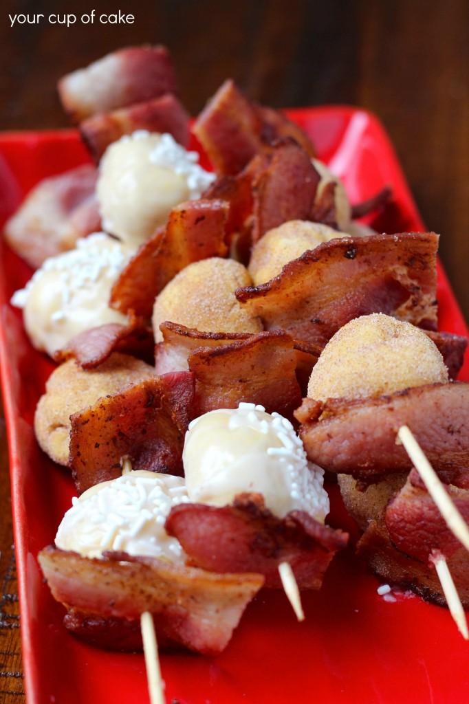 bacon doughnut skewers
