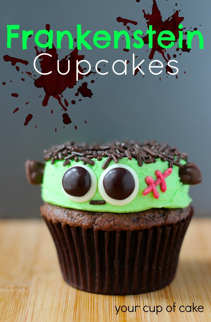 Frankenstein Cupcakes with sprinkles and M&M eyes! So cute!