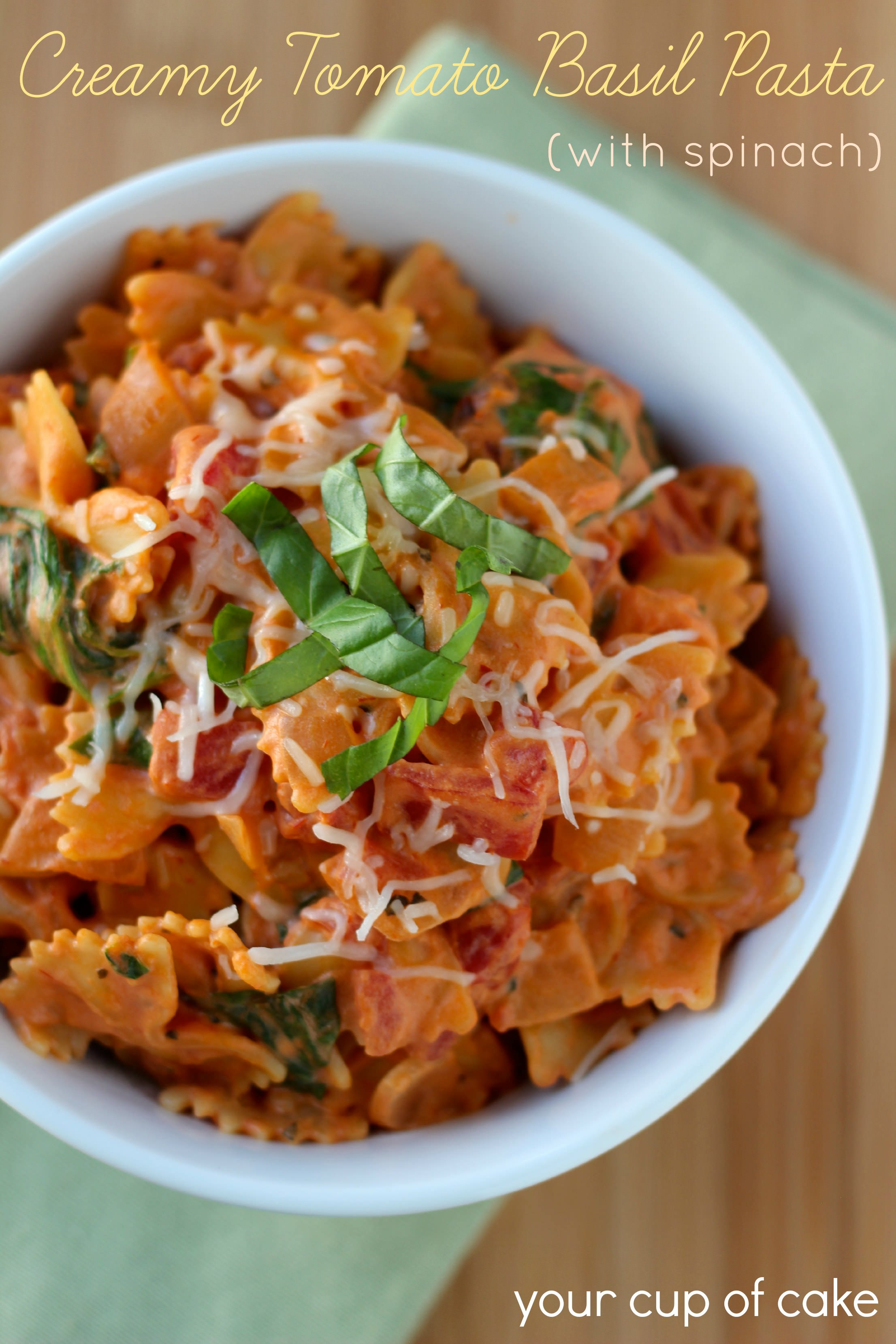 Creamy Tomato Basil Pasta With Spinach