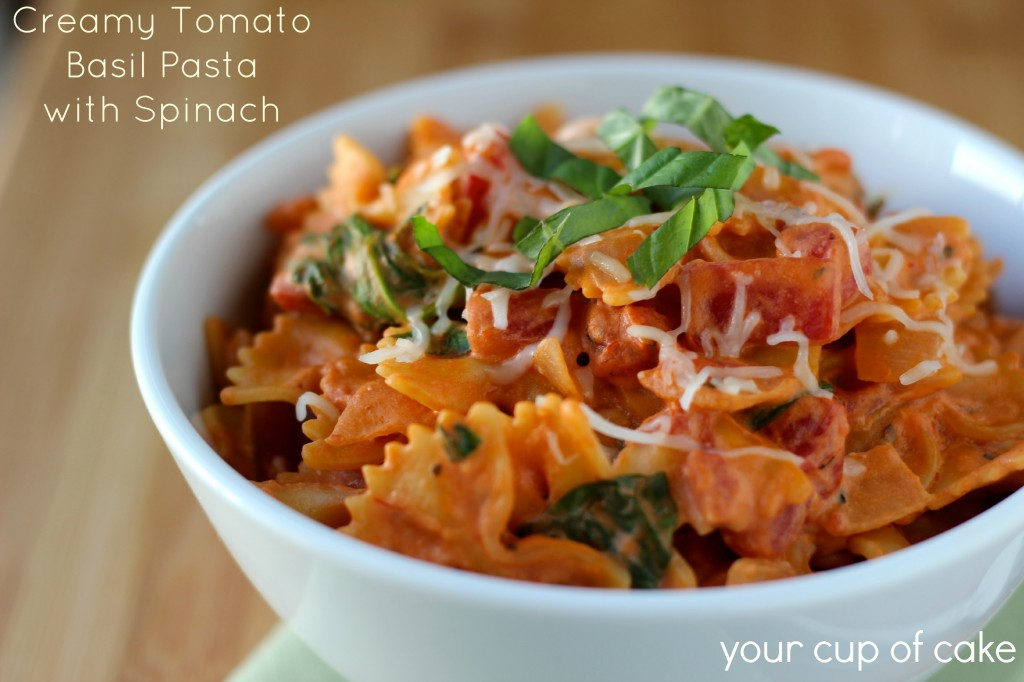 easy creamy tomato basil pasta with spinach