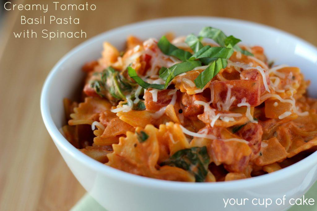 tomato basil pasta tomato basil pasta with spinach your cup of cake 11959
