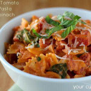 Creamy Tomato Basil Pasta with Spinach