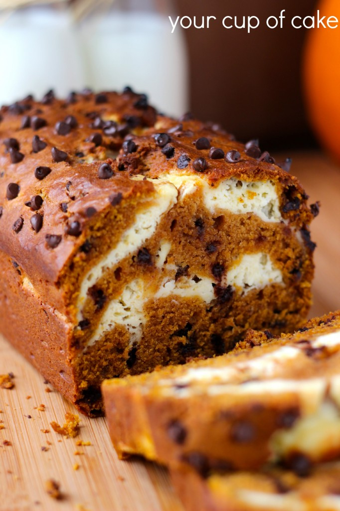 Cream Cheese Pumpkin Bread with chocolate chips