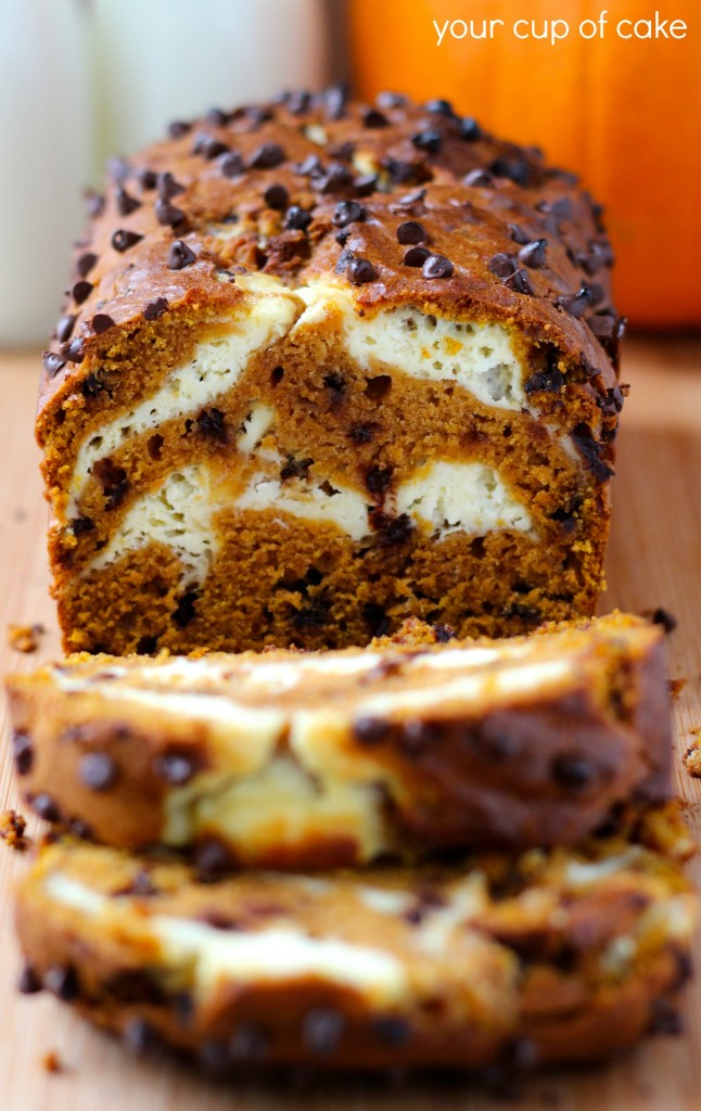 Pumpkin Bread with chocolate chips and cream cheese swirl