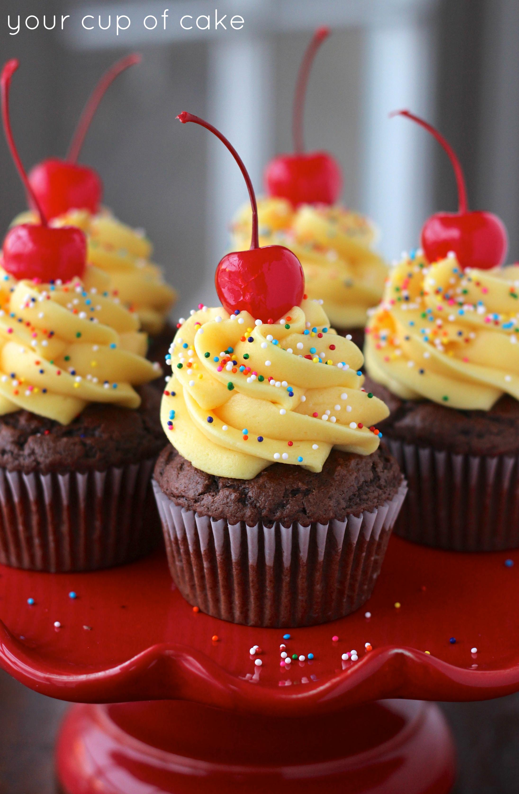 Chocolate Cake Batter Cupcakes