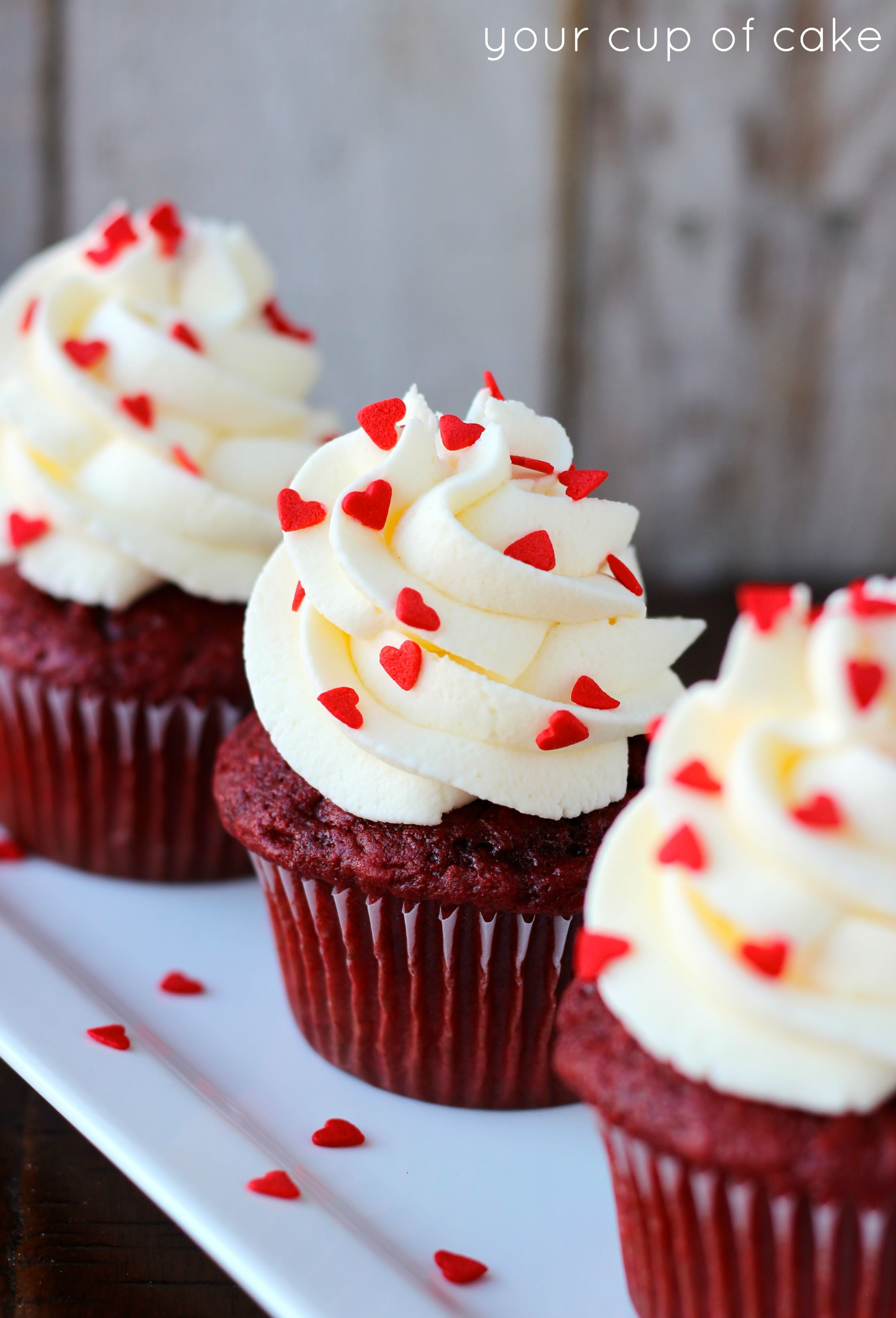 Red Velvet Cupcakes With White Chocolate Mousse Your Cup Of Cake