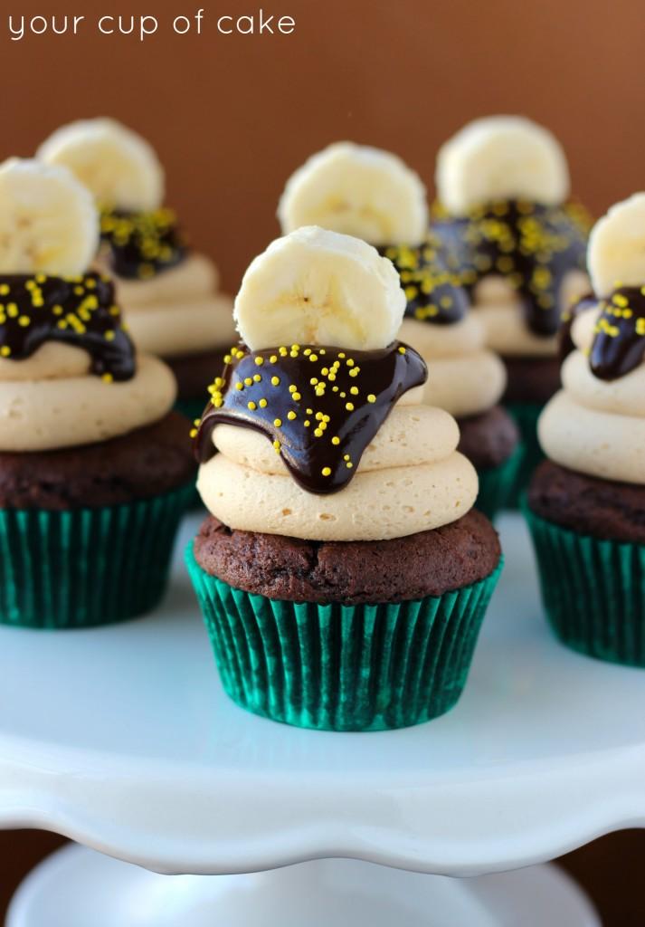 Chocolate Banana Peanut Butter Cupcake
