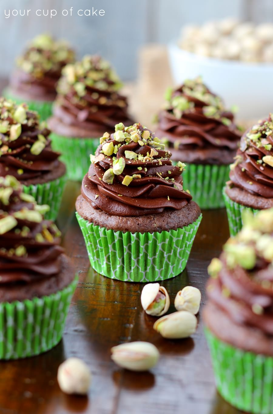Chocolate Pistachio Cupcakes - Your Cup of Cake