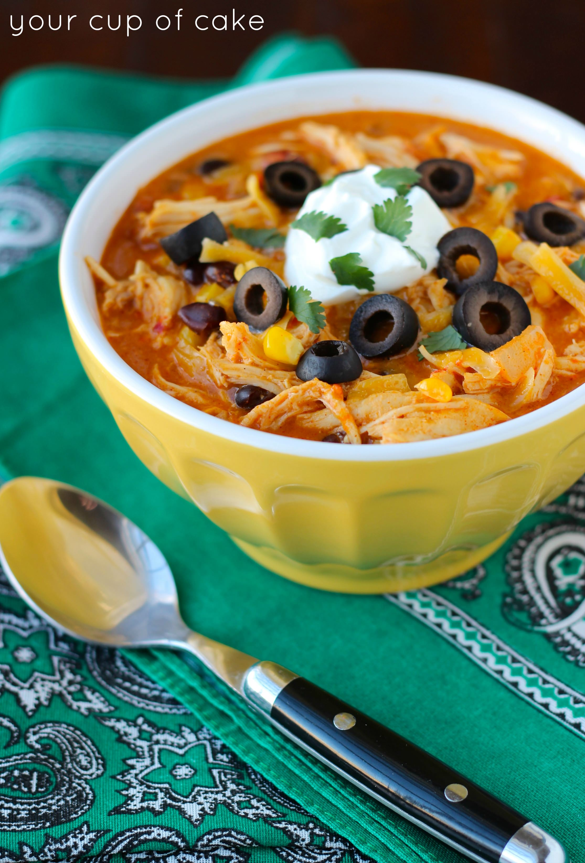 Crock Pot Chicken Enchilada Soup Your Cup Of Cake