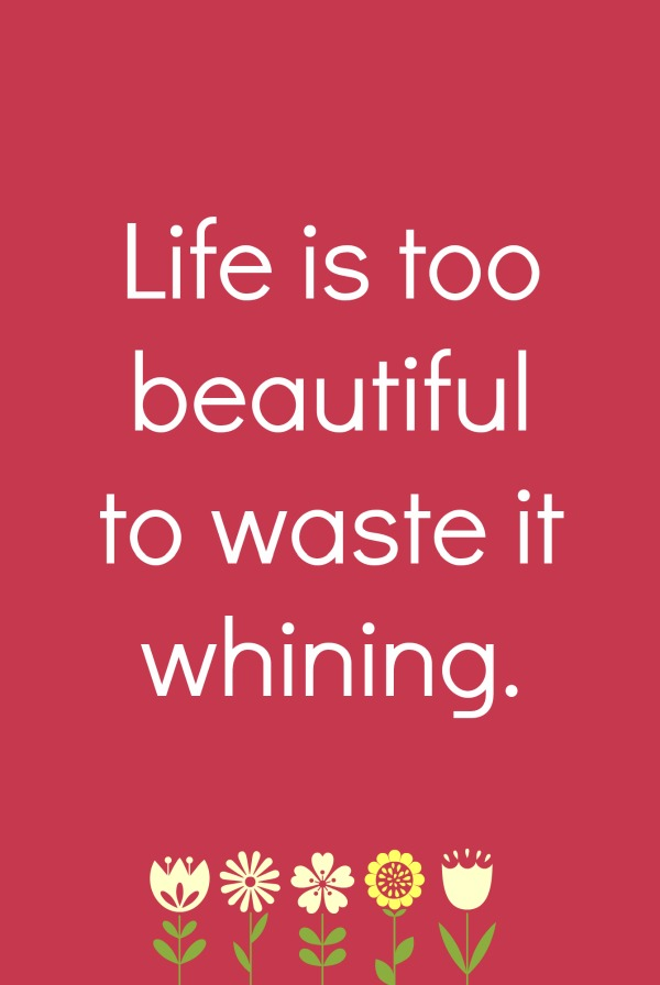 Life is too beautiful to waste it whining a lesson for singles