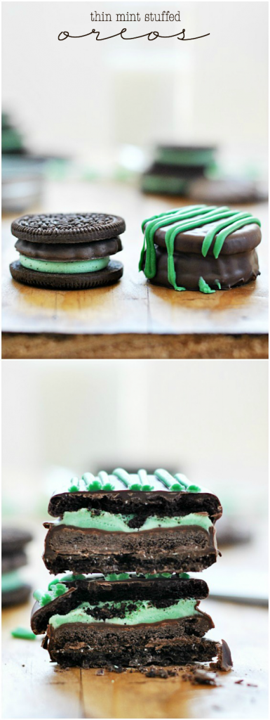 Thin Mint Stuffed Oreos