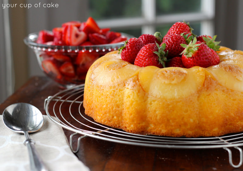 Pineapple Bundt Cake with Strawberries