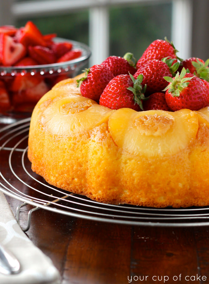 Pineapple Bundt Cake With Sweet Strawberries Your Cup Of