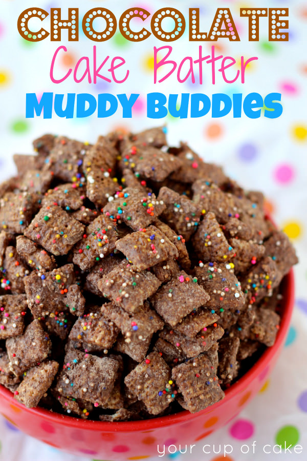Chocolate Cake Batter Puppy Chow