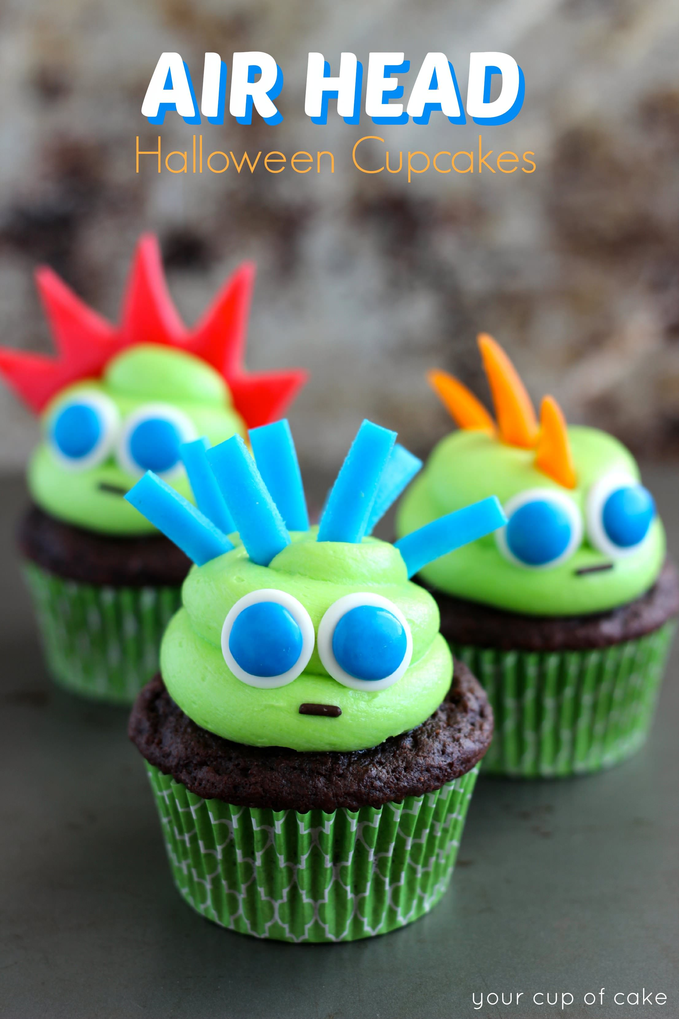 air head monster halloween cupcakes
