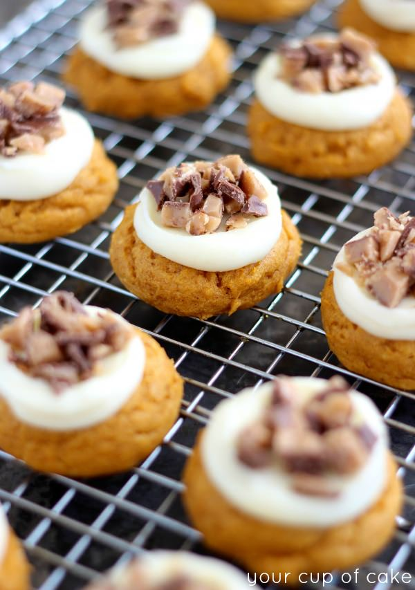 Heath Bar Pumpkin Cookies