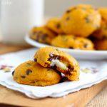 Pumpkin Chocolate Chip Cookies Stuffed with Cream Cheese