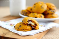 Pumpkin Chocolate Chip Cookies Stuffed with Cream Cheese