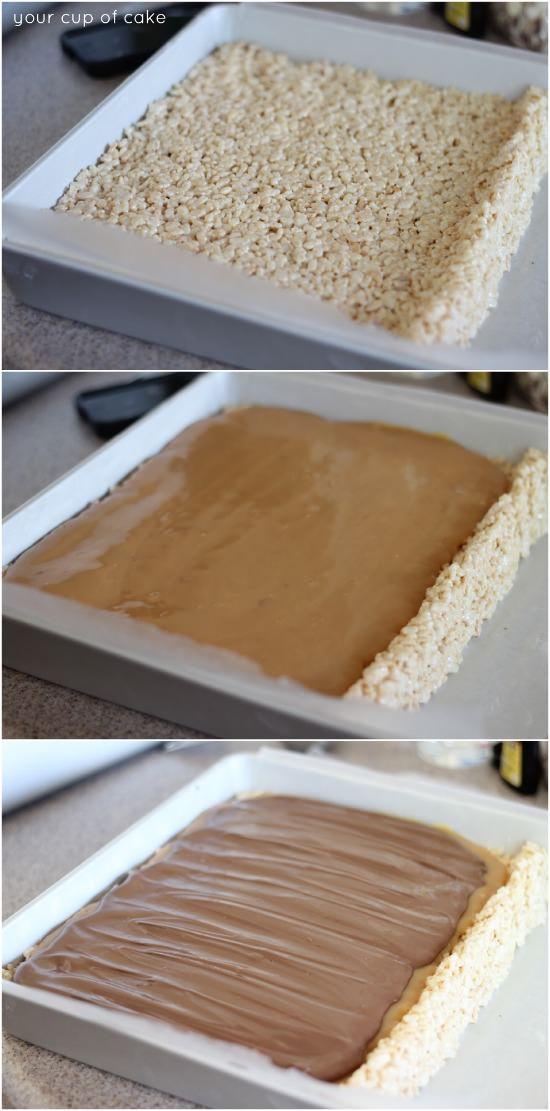 how to make chocolte caramel rice krispie treats