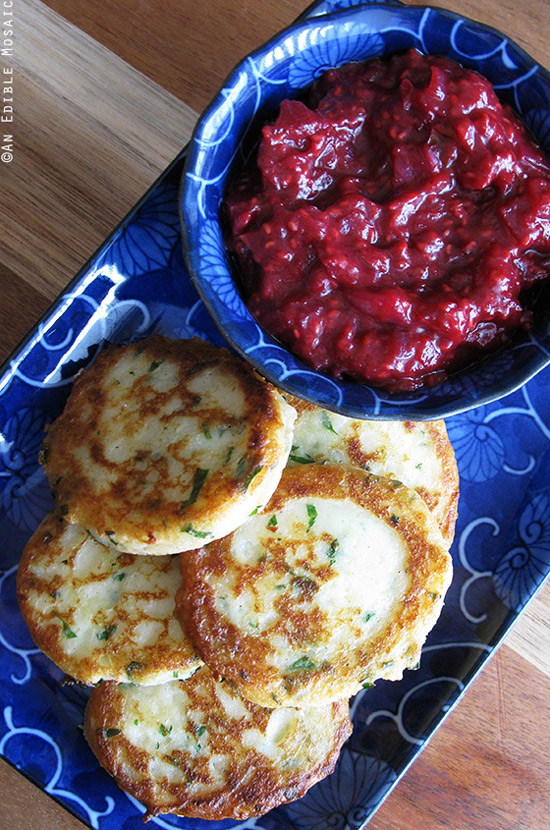 Garlicky Mashed Potato Cakes with Raspberry Ginger Mustard Chutney | Edible Mosaic