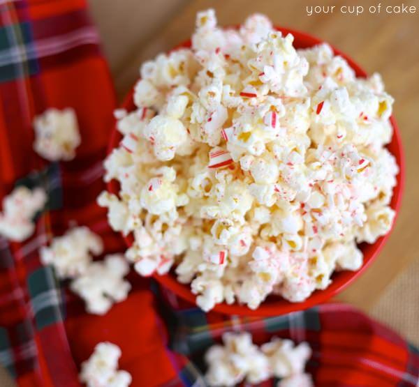 Peppermint Bark Popcorn for Christmas