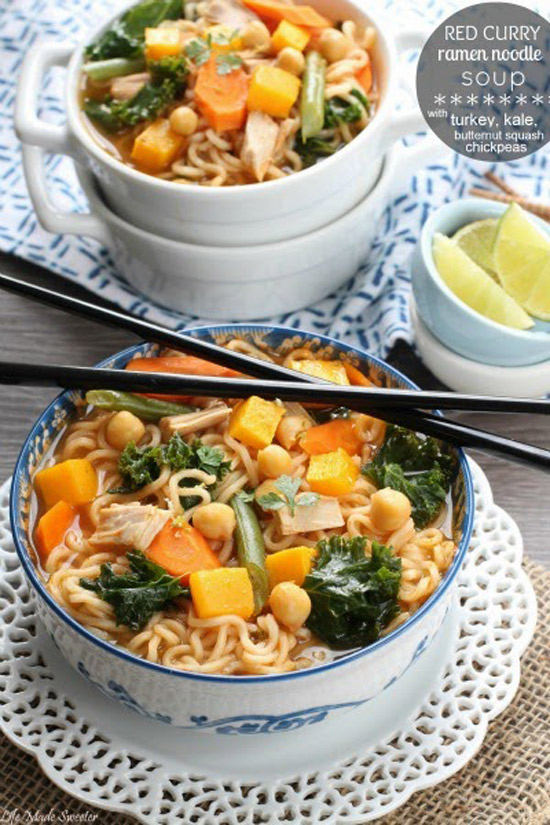 Red Curry Ramen Noodle Soup with Turkey and Butternut Squash | Life Made Sweeter