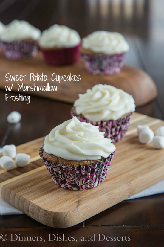 Sweet Potato Cupcakes with Marshmallow Frosting | Dinner Dishes & Dessert