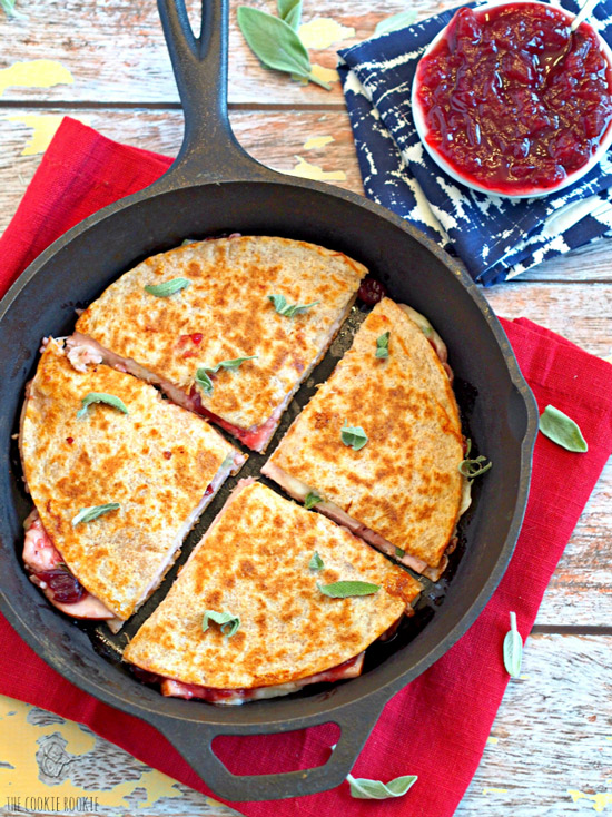 Three Cheese Turkey Cranberry & Sage Quesadilla | The Cookie Rookie