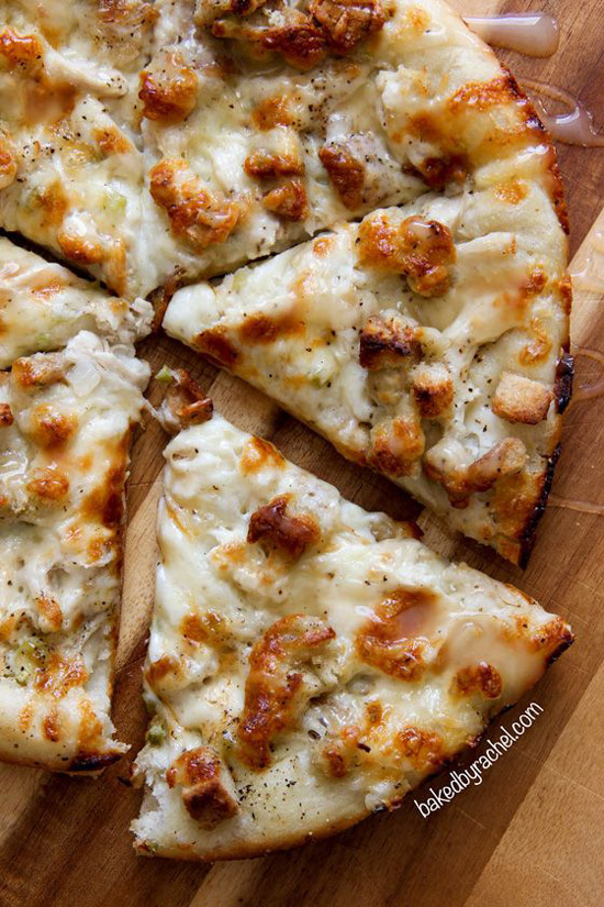 Leftover Thanksgiving Turkey Pizza | Baked by Rachel