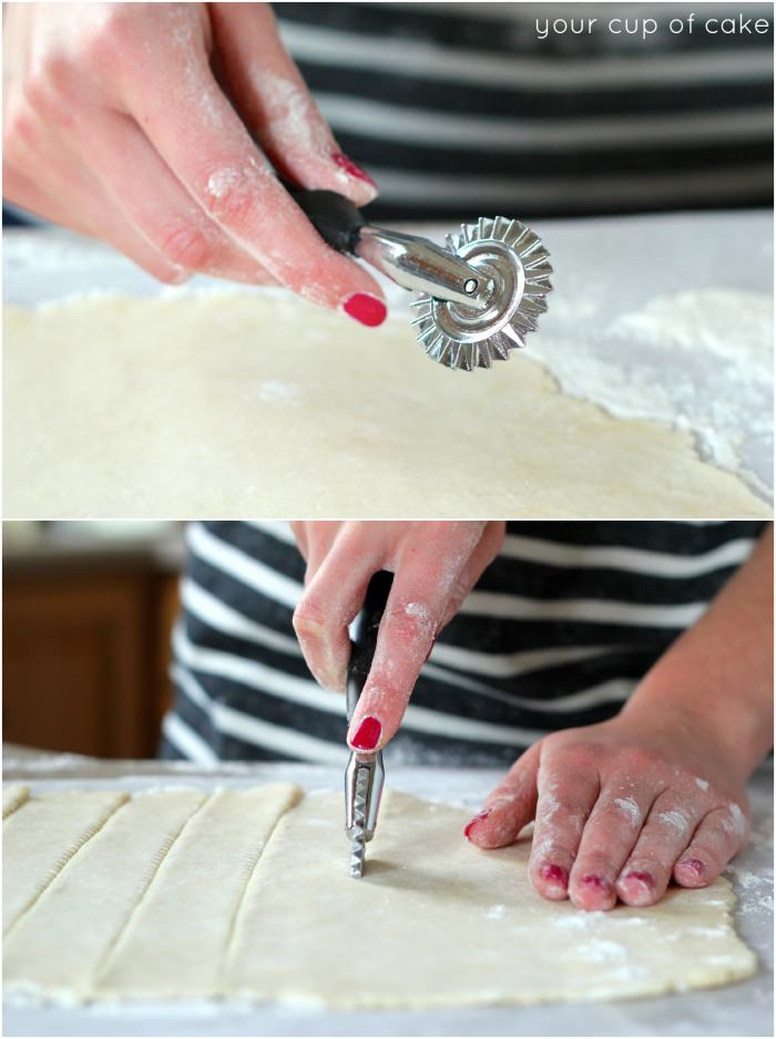 Using a ravioli wheel to make a lattice pie crust