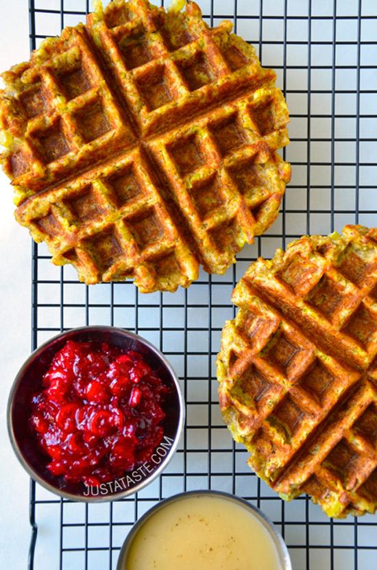 Leftover Stuffing Waffles | Just a Taste