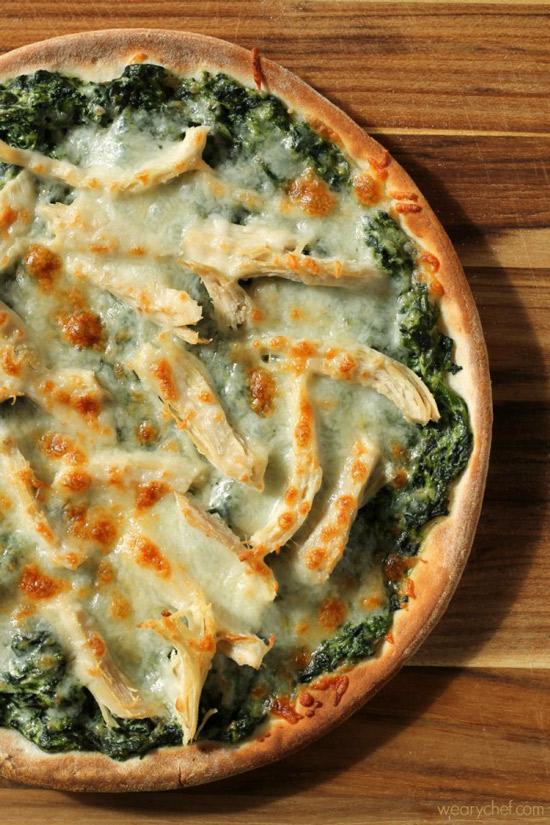 Turkey Spinach Alfredo Pizza | Weary Chef