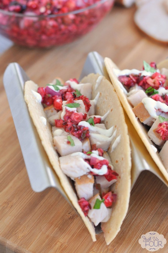 Turkey Tacos with Cranberry Salsa | Just Us Four