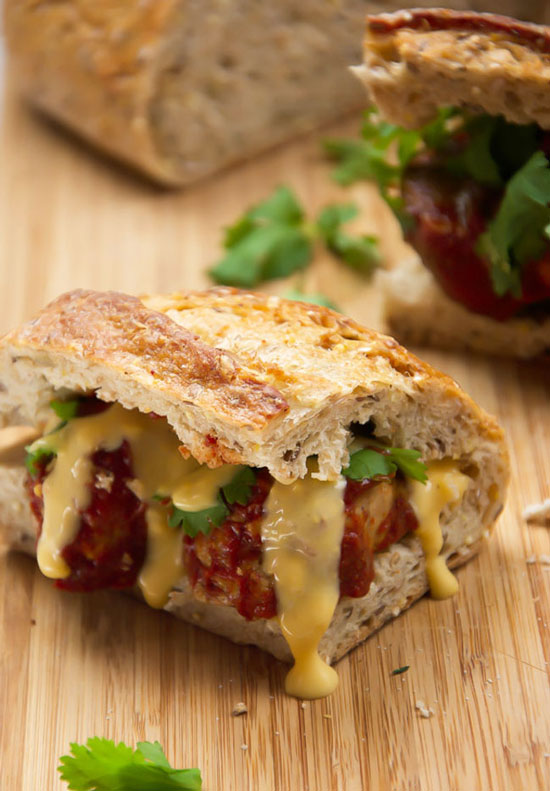 Enchilada Chicken Meatball Sub Sandwiches | The Housewife in Training Files